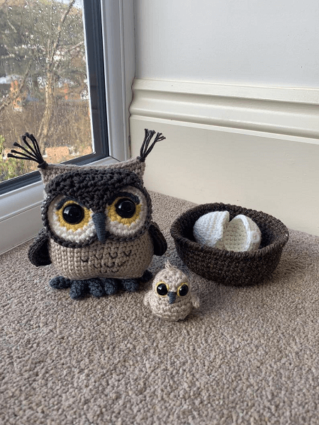 Owl With Hatching Owlet Crochet Pattern by Lau Loves Crochet