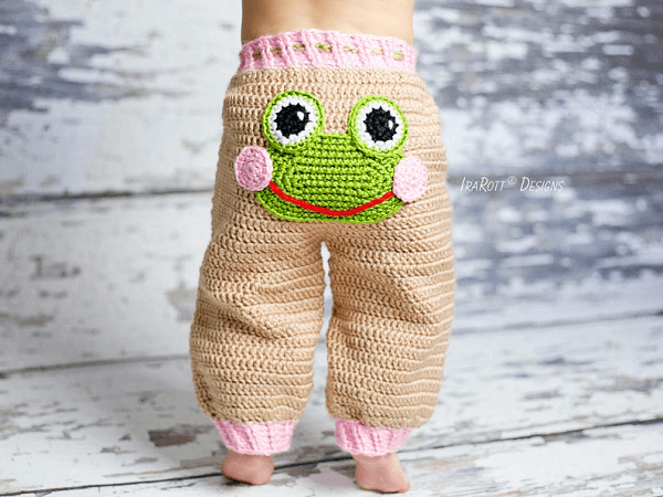 Pistachio The Frog Pants Crochet Pattern by Ira Rott Patterns