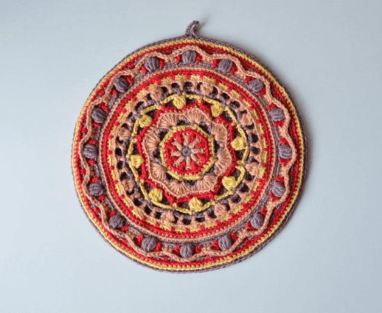 Round Mandala Pot Holder Crochet Pattern by Lilla Bjorn Crochet