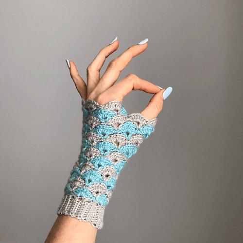 Shell Stitch Fingerless Gloves Crochet Pattern by Pony Mc Tate