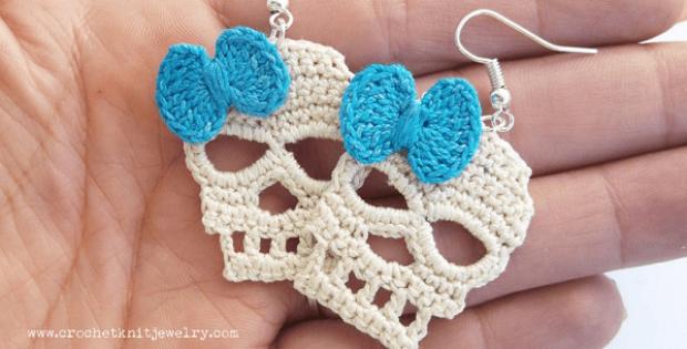 Skull Earrings Crochet Pattern by Crochet Knit Jewelry