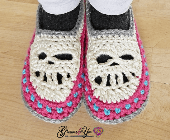 Skull Slipper Shoes Crochet Pattern by Glamour 4 You