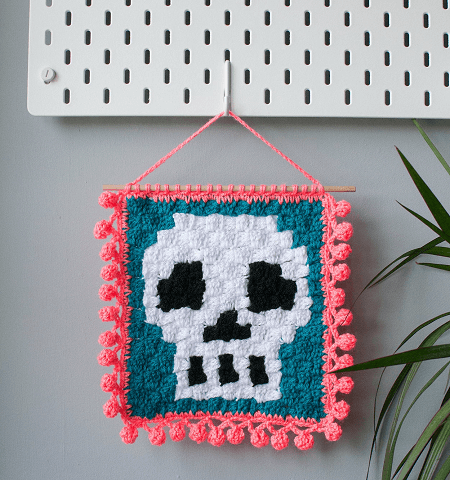 Wall Hanging Skull Crochet Pattern by Disco Sloth Designs