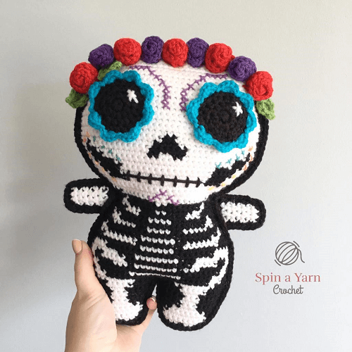 Sugar Skull Amigurumi Crochet Pattern by Spin A Yarn Crochet