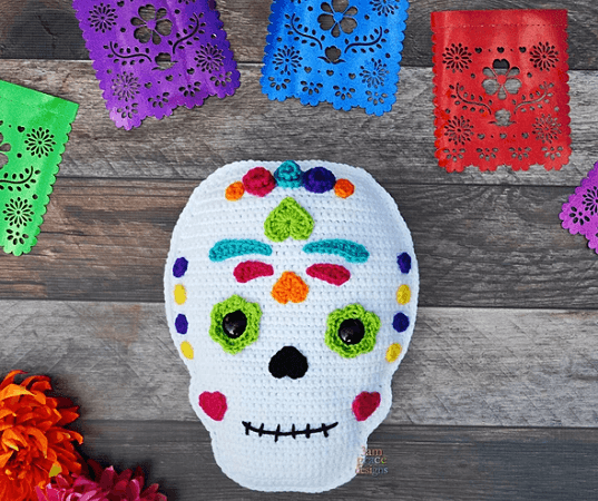Sugar Skull Kawaii Cuddler Crochet Pattern by 3am Grace Designs