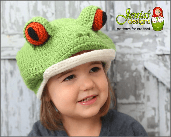 Tree Frog Hat Crochet Pattern by Jenia's Designs