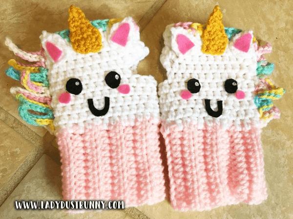 Unicorn Fingerless Gloves Crochet Pattern by Lady Dust Bunny