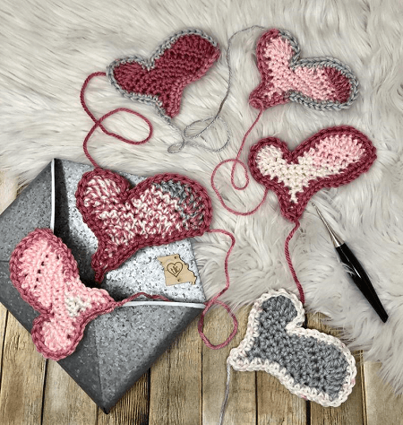 Wonky Heart Applique Crochet Pattern by TL Dot Crochet