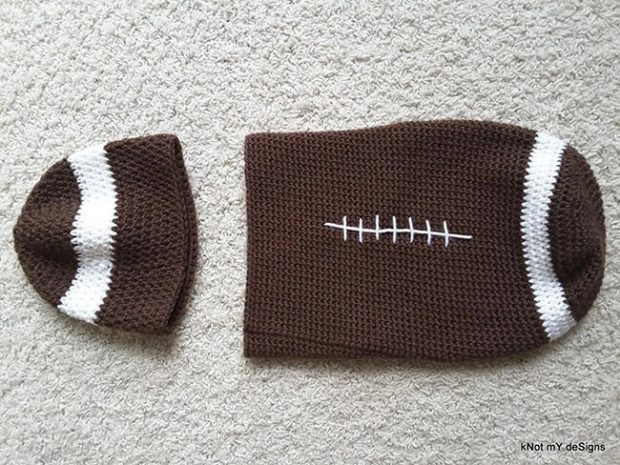 Baby Football Crochet Cocoon Pattern by Knotmydesigns