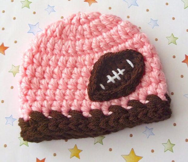 Baby Girl Football Hat By LisaCorinneCrochet