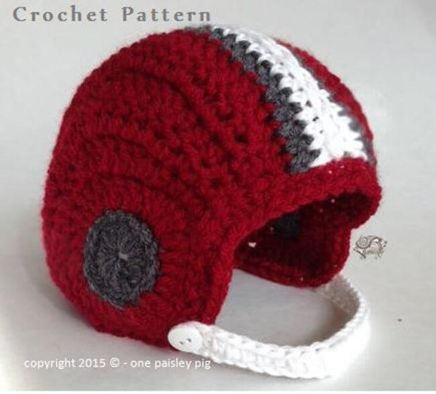 Baby's First Crochet Football Helmet by OnePaisleyPig