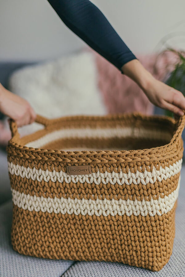 Big Storage Crochet Square Basket Pattern By MonoMeyStudio