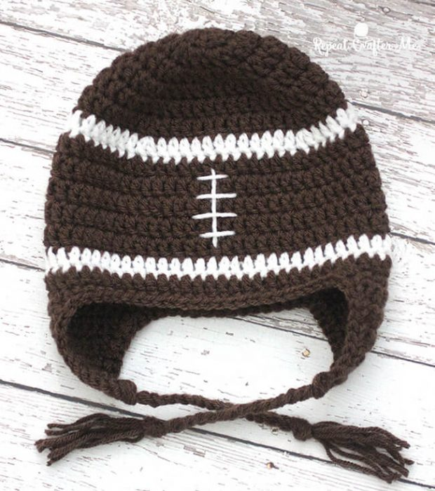 Crochet Football Hat With Earflap Pattern By RepeatCrafterMe