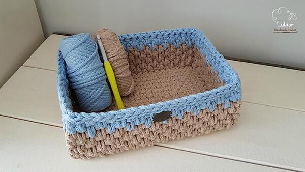 Rectangle Crochet Storage Basket Pattern By Lulaor