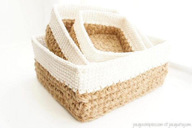 Square Stacking Crochet Storage Baskets Set By JaKiGu