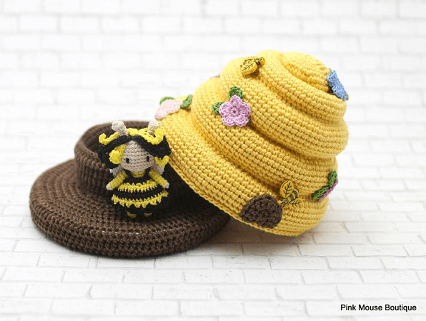 Amigurumi Honey Bee In Crochet Beehive Pattern by Pink Mouse Boutique