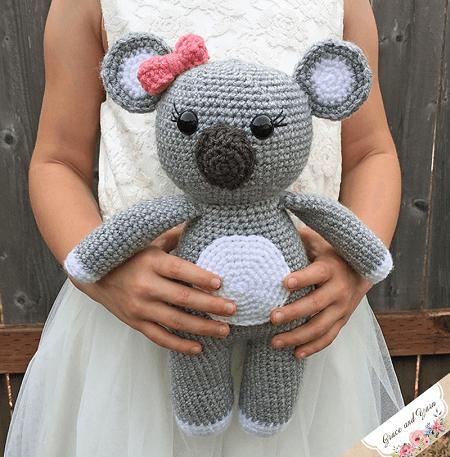 Amigurumi Koala Bear Crochet Pattern by Grace And Yarn