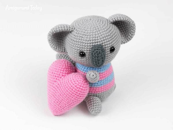 Amigurumi Koala With Heart Crochet Pattern by Amigurumi Today