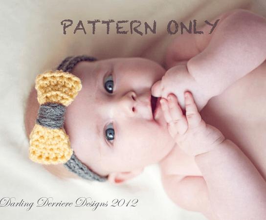 Baby Crochet Bow Headband Pattern by Darling Derriere
