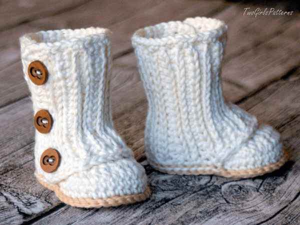 Baby Wrap Boot Crochet Pattern by Two Girls Patterns