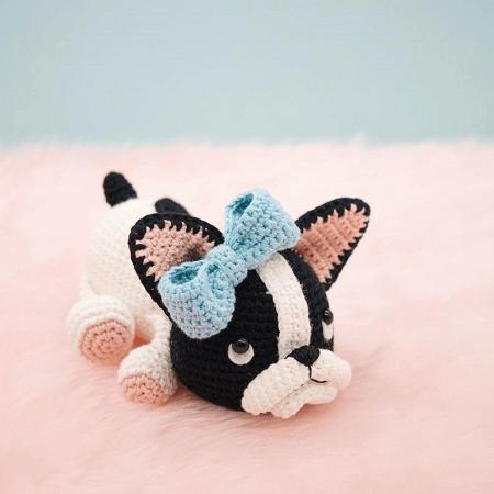 Belle, The Boston Terrier Puppy Amigurumi Pattern by The Little Hook Crochet