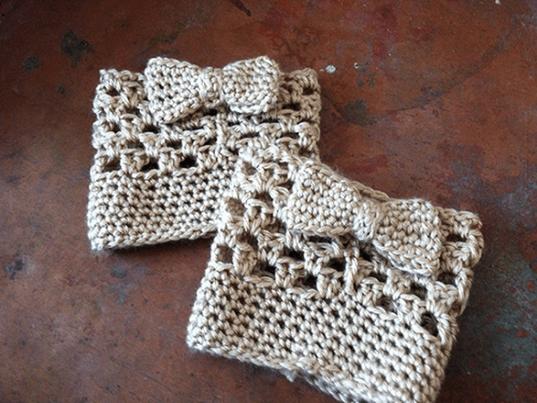 Bow Boot Cuffs Crochet Pattern by Loops Of Lavender