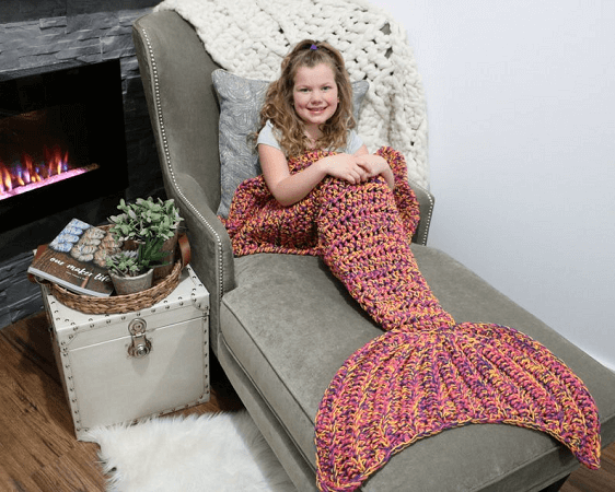 Bulky Mermaid Tail Blanket Crochet Pattern by MJs Off The Hook Designs