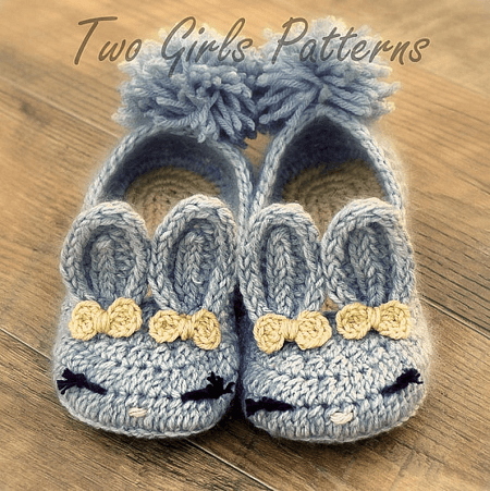 Bunny House Slippers Crochet Pattern by Two Girls Patterns