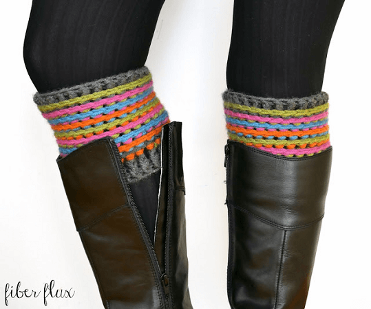 Celebration Boot Cuffs Crochet Pattern by Fiber Flux