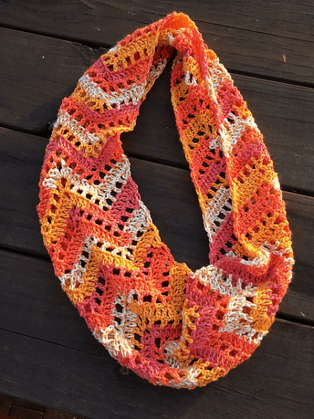 Chevron Lace Infinity Scarf Crochet Pattern by Tamara Kelly