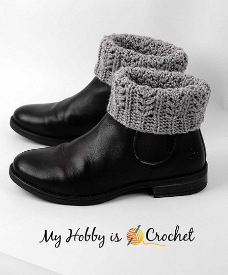 Chic Aran Boot Cuffs Crochet Pattern by My Hobby Is Crochet