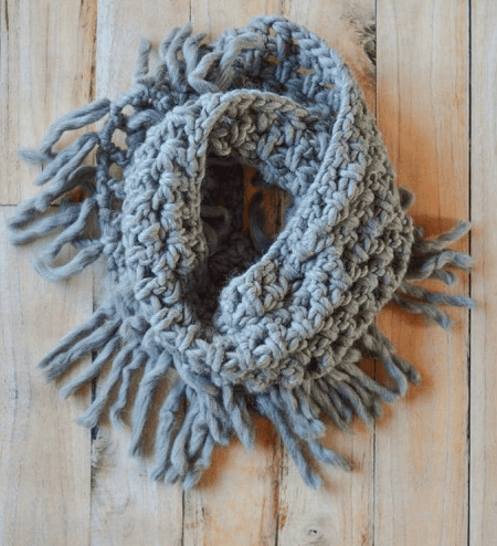 Chunky Fringe Infinity Scarf Pattern by Whistle And Ivy