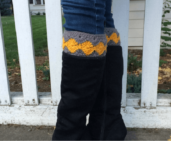 Crochet Diamond Boot Cuffs Pattern by CAAB Crochet
