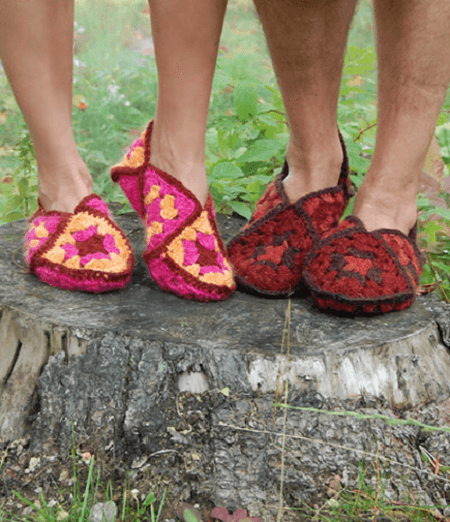 Crochet Granny Square Slippers Pattern by Purl Soho