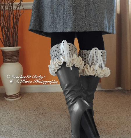 Crochet Lacey Boot Cuffs Pattern by Crochet It Baby