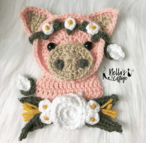 Crochet Pig Applique Pattern by Nella's Cottage
