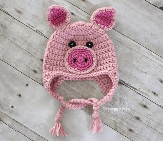 Crochet Pig Hat Pattern by Repeat Crafter Me
