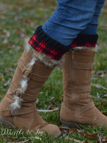 Crochet Plaid Boot Cuffs Pattern by Whistle And Ivy