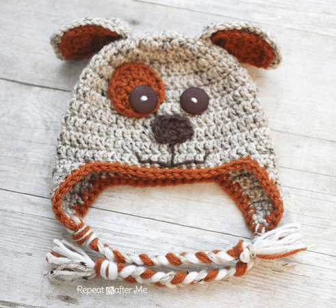 Crochet Puppy Hat Pattern by Repeat Crafter Me