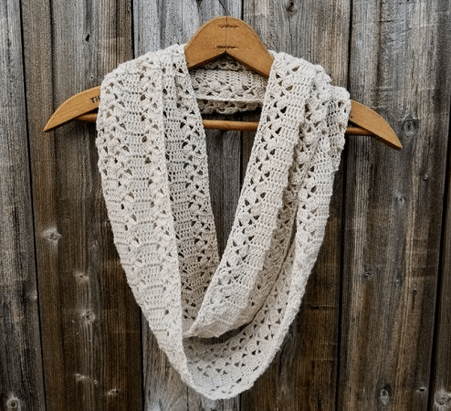 Crochet Rustic Lace Infinity Scarf Pattern by Highland Hickory Dsgns