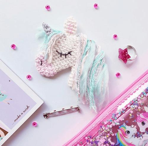 Crochet Unicorn Brooch Pattern by Amalou Designs