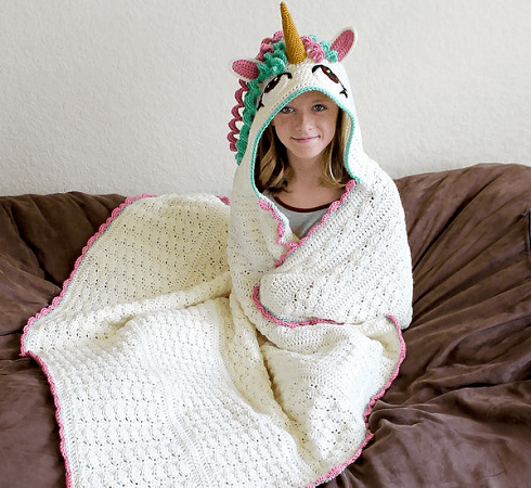 Crochet Unicorn Hooded Blanket Pattern by Bri Abby HMA
