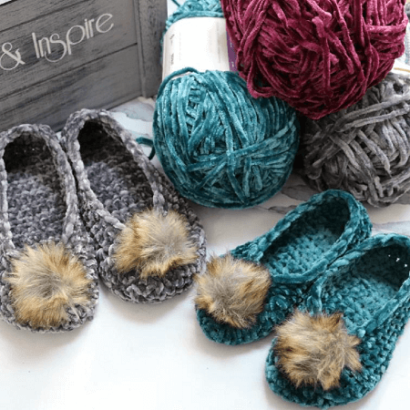 Crochet Velvet Ballet Pom Pom Slippers Pattern by MJ's Off The Hook Designs