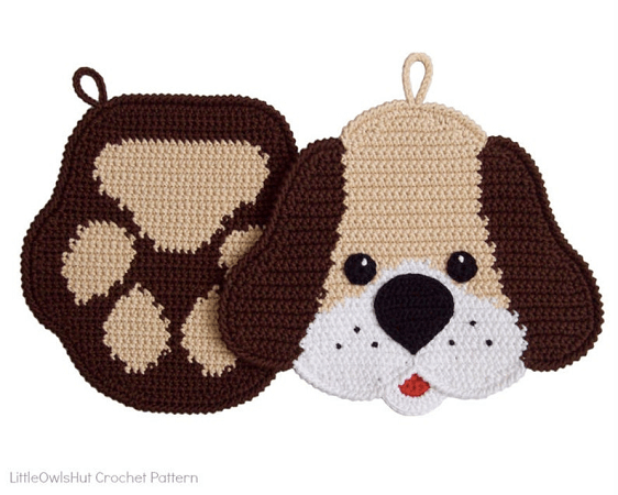 Dog And Paw Potholders Crochet Pattern by Little Owls Hut
