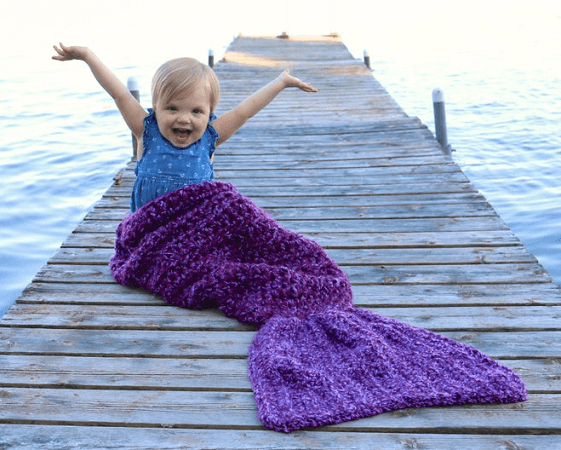Easy Crochet Mermaid Tail Blanket Pattern by Sugar Threadz