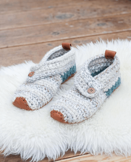 Free Crochet Slippers Pattern by Make And Do Crew