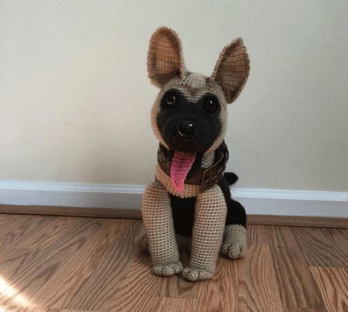 German Shepherd Dog Crochet Pattern by Amber Craft Store
