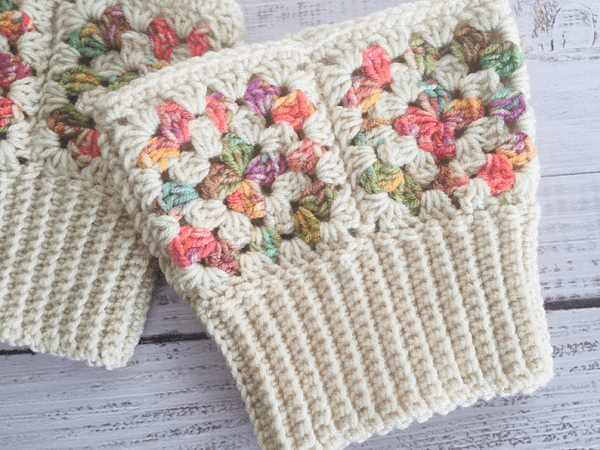 Granny Square Boot Cuffs Crochet Pattern by Lullaby Lodge