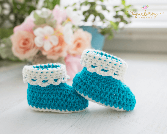 Lace Trim Baby Booties Crochet Pattern by Loganberry Handmade