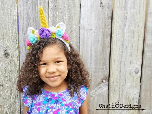 Magical Unicorn Headband Crochet Pattern by Chain 8 Designs